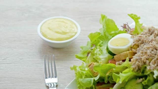 Tuna salad Tuna salad tuna seafood stock videos & royalty-free footage