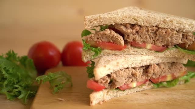 tuna sandwich tuna sandwich tuna seafood stock videos & royalty-free footage