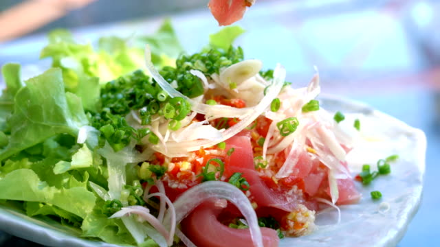 Tuna sashimi spicy salad.