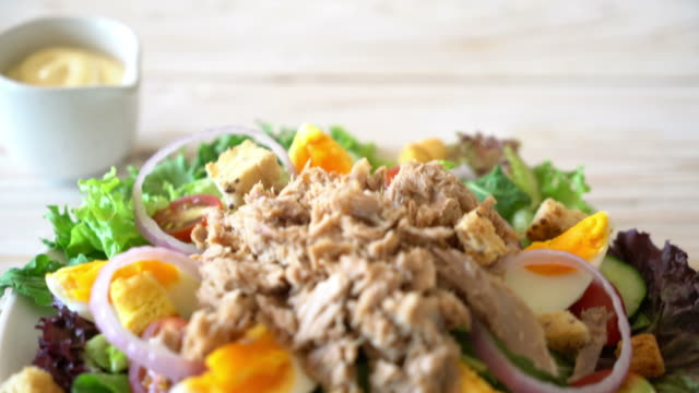 Tuna with vegetable salad and eggs Tuna with vegetable salad and eggs tuna seafood stock videos & royalty-free footage