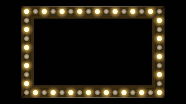 tunnel weißglühende glühlampe box frame rechteck form beweglichen blinkmuster, retrostil 3d virtuelle abbildung glühen im dunklen hintergrund nahtlose schleife animation 4k mit textfreiraum - rechteck stock-videos und b-roll-filmmaterial