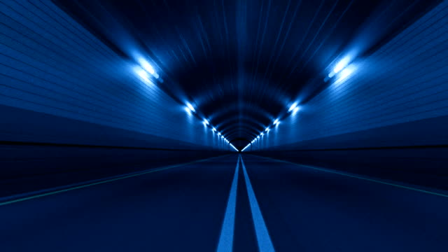 Tunnel Road Driving Fast Endless Seamless Loop Blue video