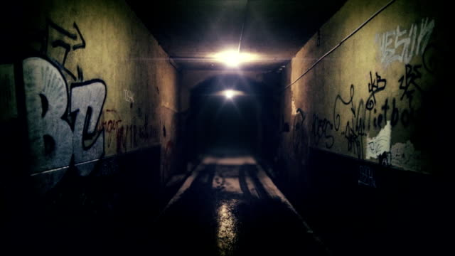 Tunnel Camera tracking into a tunnel with walls covered in tags and graffiti alley stock videos & royalty-free footage