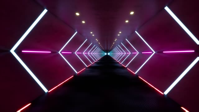 Tunnel with bright neon lights 3d seamless footage. Fast moving effect inside hallway. Contemporary pink corridor animation. Empty futuristic room with led lamps POV motion. Abstract looped video Tunnel with bright neon lights 3d seamless footage. Fast moving effect inside hallway. Contemporary pink corridor animation. Empty futuristic room with led lamps POV motion. Abstract looped video image stock videos & royalty-free footage