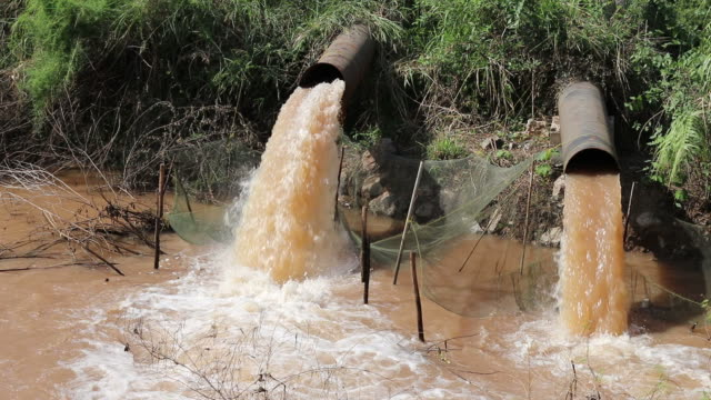 Turbid water outflow pipe. video