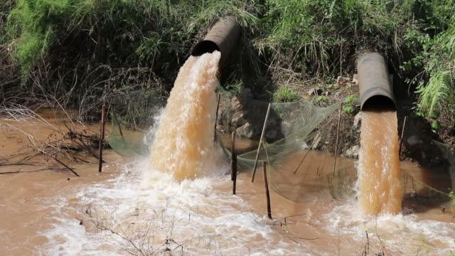vídeos y material grabado en eventos de stock de tubo de salida de agua turbia. - nocivo descripción física
