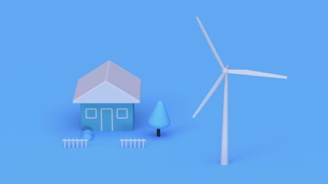 turbine nature blue scene cartoon style 3d rendering power electricity innovation concept