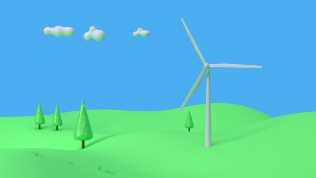 turbine nature green blue scene cartoon style 3d rendering power electricity innovation concept