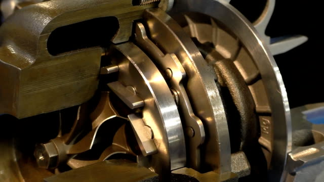 Turbocharger working parts close up loop video