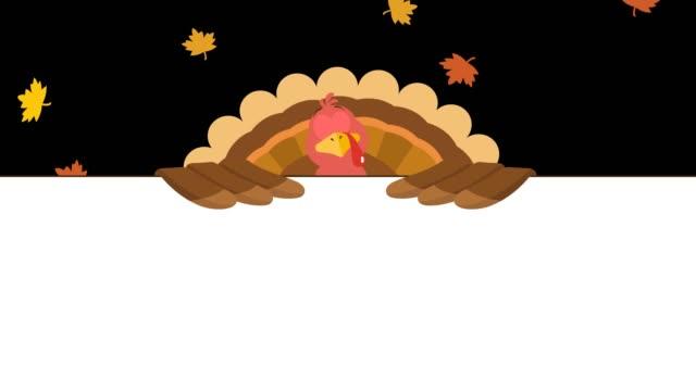 vídeos y material grabado en eventos de stock de personaje de dibujos animados de pavo pájaro sobre un signo en blanco - thanksgiving turkey