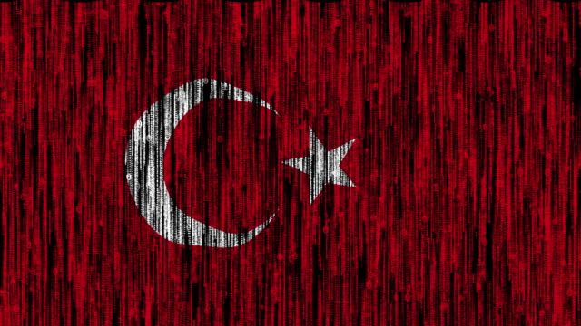 Turkey flag digitally generated animation with ones and zeros binary computer code