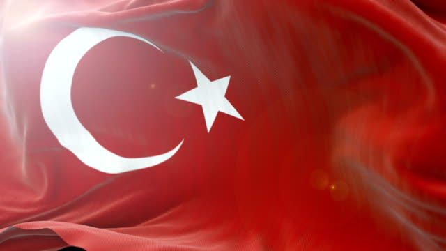 turkey flag slow waving background. 4k close up flag waving. seamless loop - politica e governo video stock e b–roll