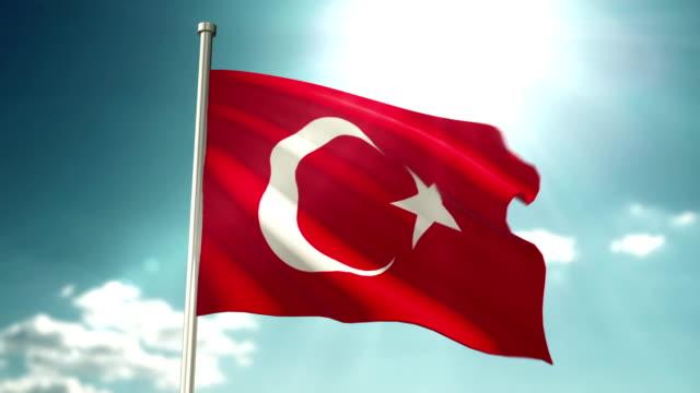 4K Turkey Flag video