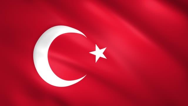 turkey flag waving in the wind - insygnia filmów i materiałów b-roll