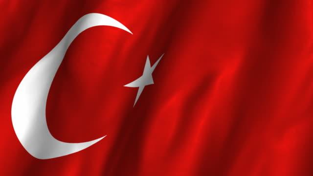 Turkey Flag - waving, looping video