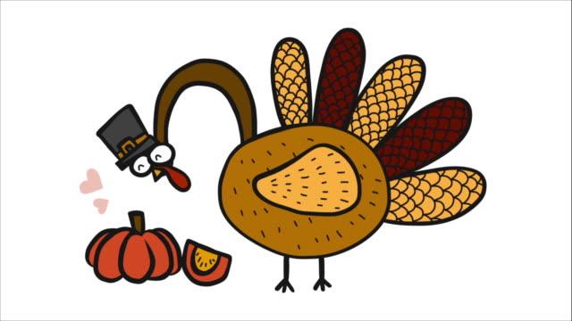 Turkey love pumpkin, Happy thanksgiving day cartoon