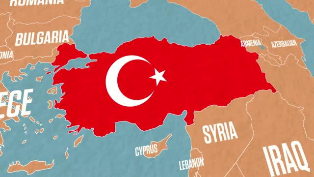 türkei karte und türkische fahne auf der weltkarte - ankara türkei stock-videos und b-roll-filmmaterial
