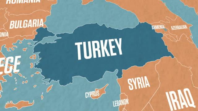 türkei karte auf weltkarte - ankara türkei stock-videos und b-roll-filmmaterial