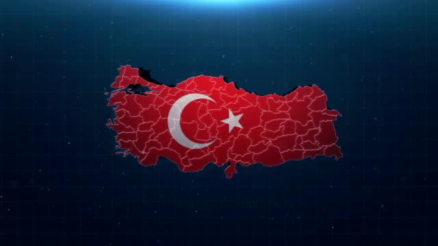 4k türkiye haritası ulusal bayraklı - www stok videoları ve detay görüntü çekimi
