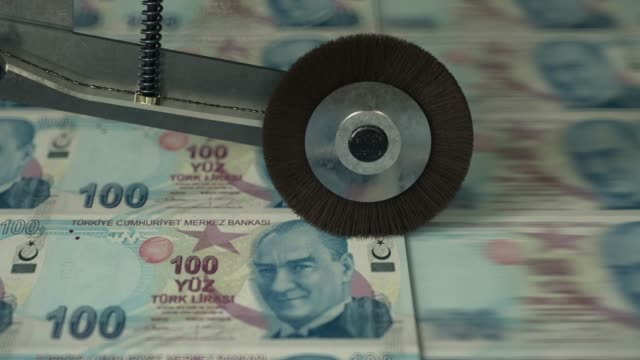 Turkish 100 Lira banknotes being printed Turkish 100 Lira banknotes being printed turkey stock videos & royalty-free footage