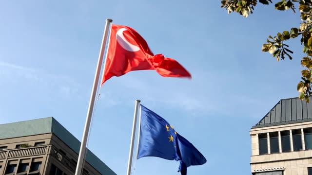 Turkish and EU flag video