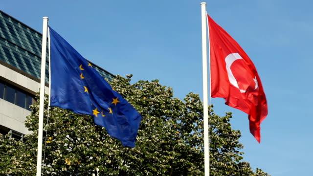 Turkish and European flag video