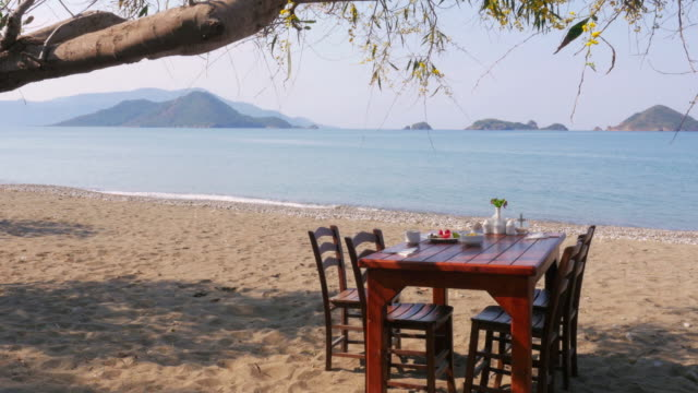 Turkish breakfast at beach by sea, Fethiye, Turkey video