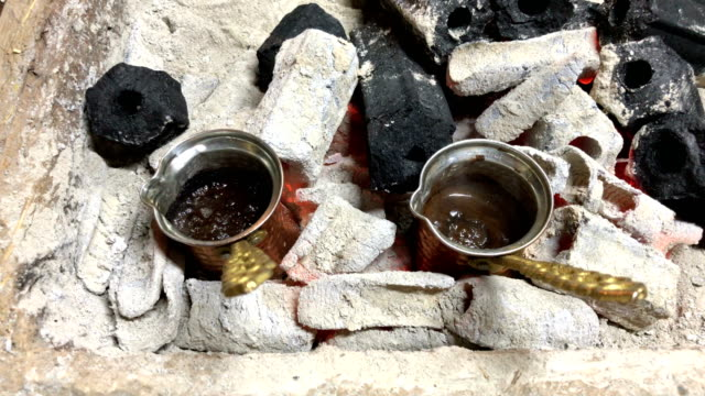 turkish coffee on the fire - cultura turca video stock e b–roll