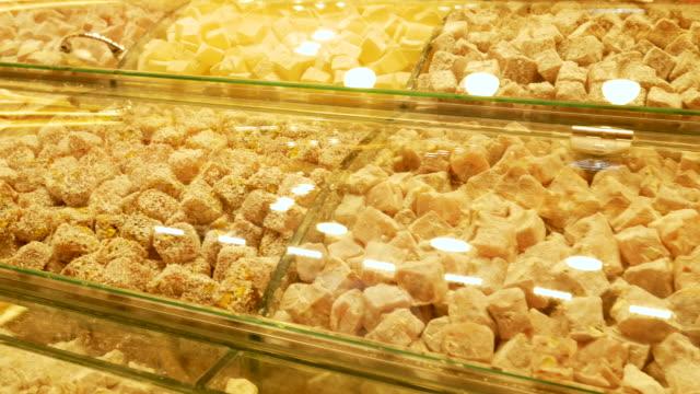 turkish delights in an old bazaar in istanbul turkey, 4k resolution. - grand bazaar video stock e b–roll