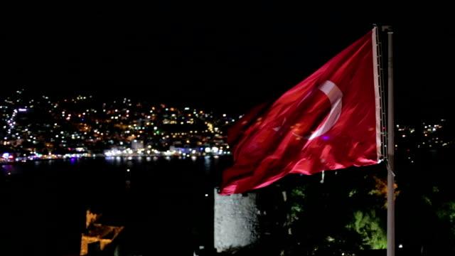 Turkish flag aerial shot bodrum castle video