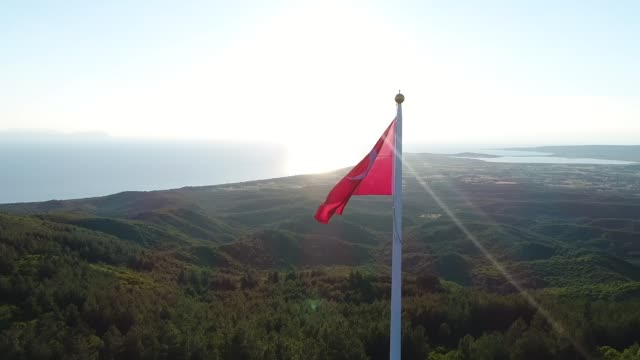 Turkish Flag aerial view Turkish Flag aerial view çanakkale province stock videos & royalty-free footage