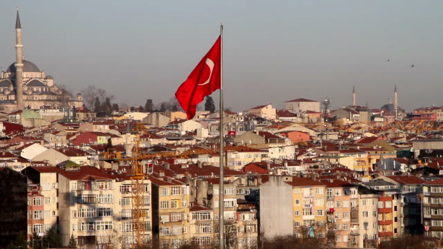 Turkish flag and Fatih Mosque in Istanbul video
