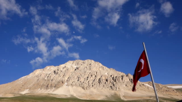 turkish flag in mountains video