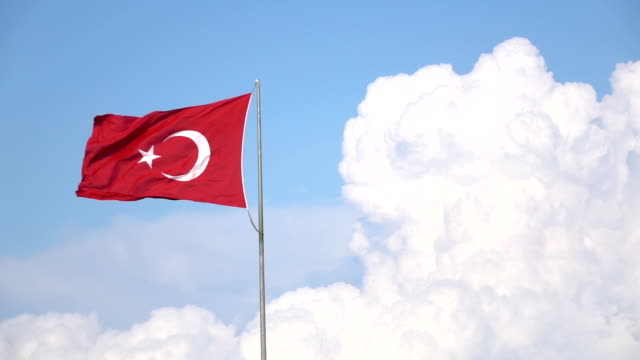Turkish Flag On Blue Sky With White Clouds video