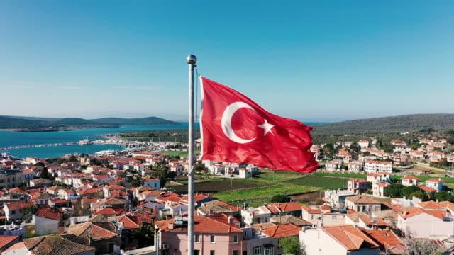 4kトルコ国旗 - ギリシャ点の映像素材/bロール