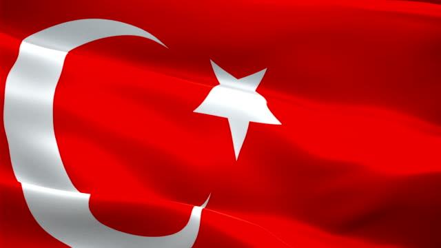 turkish flag waving in wind video footage full hd. realistic turkish flag background. turkey flag looping closeup 1080p full hd 1920x1080 footage. turkey eu european country flags full hd - турция стоковые видео и кадры b-roll
