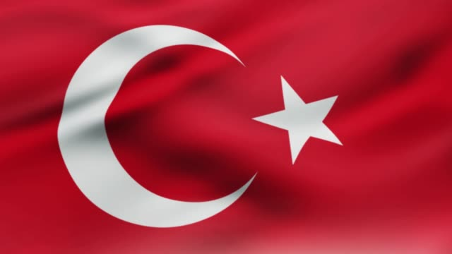 vídeos de stock e filmes b-roll de turkish flag waving in wind video footage  realistic turkey flag background. turk flag looping closeup - democracy illustration