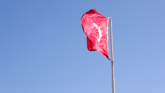 Turkish flag waving on a flagpole.