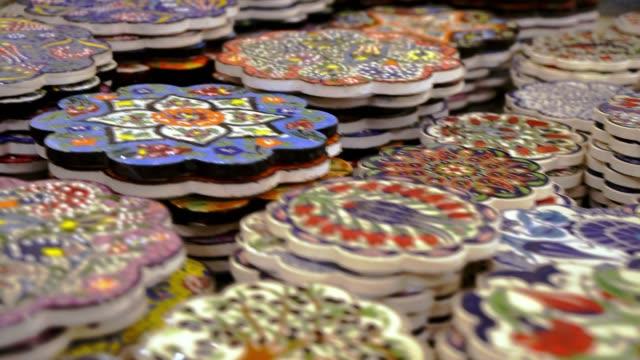 turkish pottery close up - souk video stock e b–roll