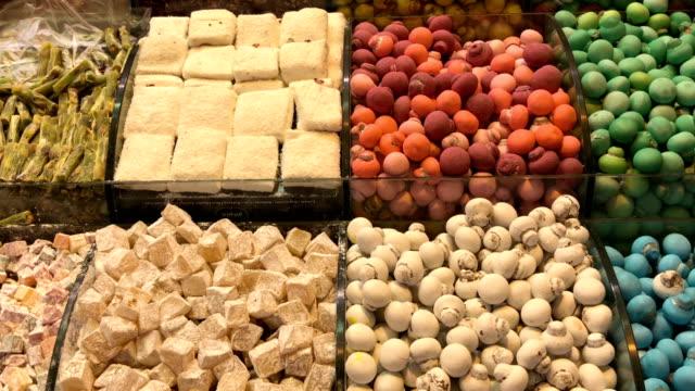 turkish sweets at misir carsisi - grand bazaar video stock e b–roll