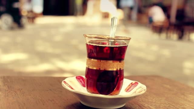 Turkish tea hand held shot video