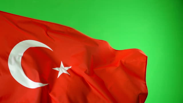 Turkish Turkey Flag on green screen, Real video, not CGI - Super Slow Motion video