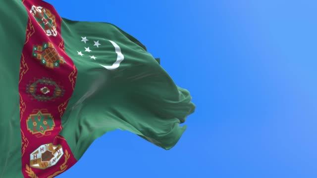 Turkmenistan - 3D realistic waving flag background Turkmenistan flag - 3D realistic waving flag background turkmenistan stock videos & royalty-free footage