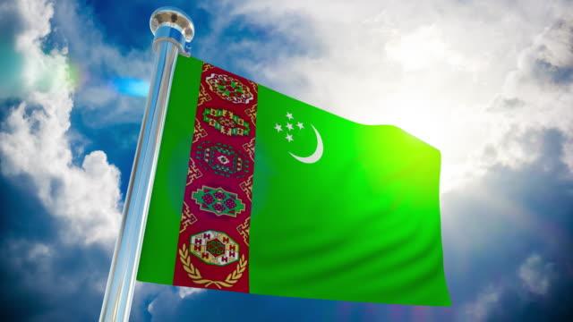 4K - Turkmenistan Flag | Loopable Stock Video Turkmenistan, USA, 4K Resolution, Animation - Moving Image, Backgrounds turkmenistan stock videos & royalty-free footage