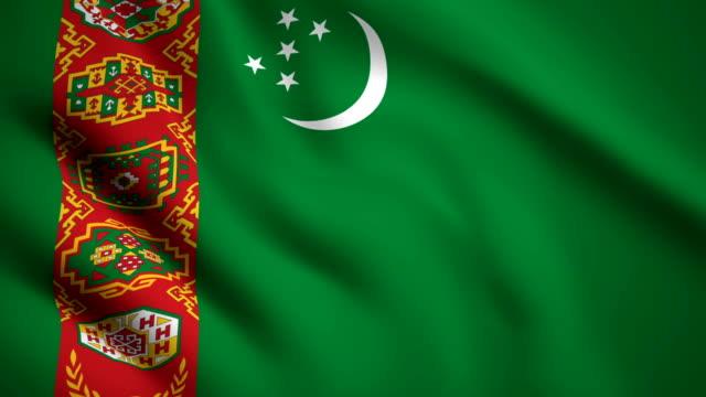 Turkmenistan flag Motion video waving in wind. Flag Closeup 1080p HD  footage Turkmenistan flag Motion video waving in wind. Flag Closeup 1080p HD  footage turkmenistan stock videos & royalty-free footage