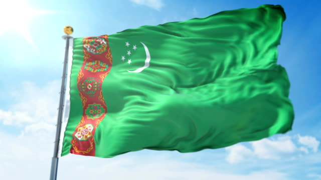 Turkmenistan flag seamless looping 3D rendering video. Beautiful textile cloth fabric loop waving Turkmenistan flag seamless looping 3D rendering video. 3 in 1: Includes isolated on green screen and alpha channel as luma matte for easy clipping in AE. Beautiful textile cloth fabric loop waving turkmenistan stock videos & royalty-free footage