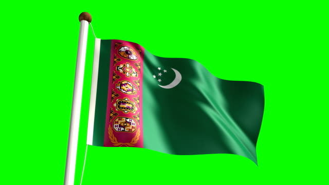 Turkmenistan flag (with green screen) 3D Turkmenistan flag video (seamless & green screen) turkmenistan stock videos & royalty-free footage