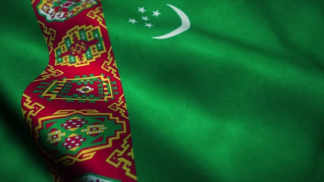 Turkmenistan flag waving in the wind. National flag of Turkmenistan. Sign of Turkmenistan seamless loop animation. 4K Turkmenistan flag waving in the wind. National flag of Turkmenistan. Sign of Turkmenistan seamless loop animation. 4K. turkmenistan stock videos & royalty-free footage