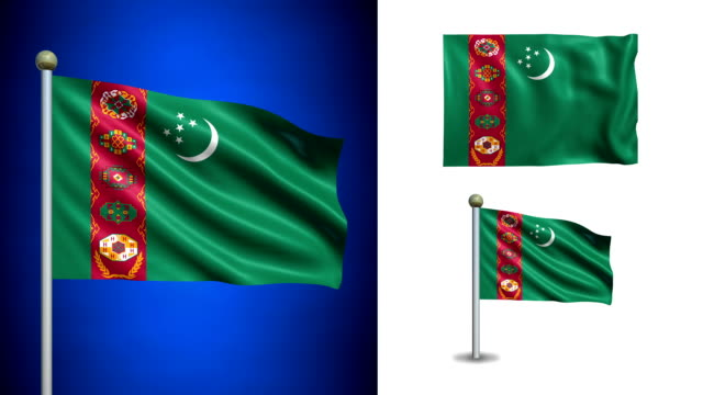 Turkmenistan flag - with Alpha channel, seamless loop! Turkmenistan flag - with Alpha channel, seamless loop! turkmenistan stock videos & royalty-free footage