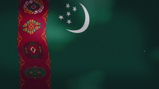 Turkmenistan National Flag - Waving The Turkmenistan national waving flag. turkmenistan stock videos & royalty-free footage